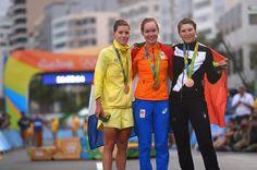 The women's 2016 Olympic Road Race podium