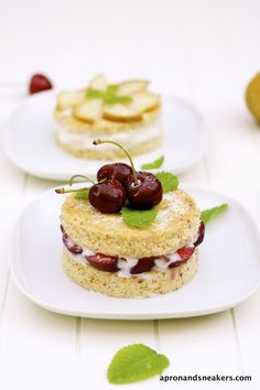 Mini Almond Cakes with Ricotta, Pears & Cherries