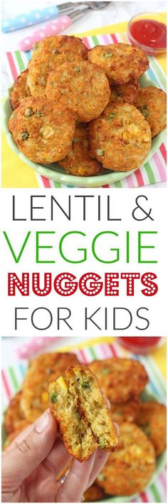 Delicious veggie nuggets packed with lentils. These make brilliant finger foods for kids, toddlers and weaning babies too. Super healthy and so easy to make! #FoodForBaby
