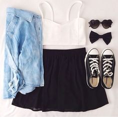 Summer black skirt outfit