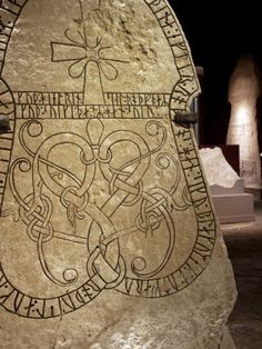 Sweden, Island of Gotland, Visby; Detail from Viking Carved Rune Stones in the Museum of Gotland Photographic Print by Mark Hannaford at AllPosters.com