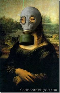 Mona Lisa wearing a gas mask art Gas Mask Art, Masks Art, Mona Lisa Louvre, Le Sourire De Mona Lisa, Funny Art, Funny Memes, La Madone, Mona Lisa Parody, Mona Lisa Smile