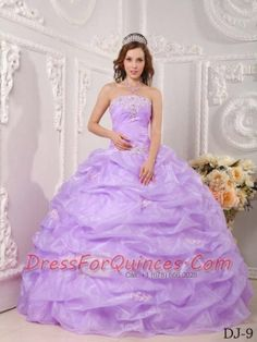 2015 Exclusive Ball Gown Strapless With Floor-length Organza Appliques Lavender Quinceanera Dress