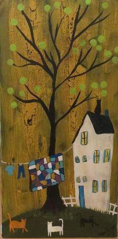 Original Folk Art Painting Patchwork Quilt House Cats Picket Fence Kitties Proud | eBay  Patchwork Proud