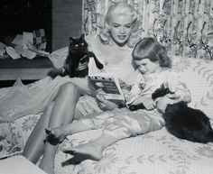 0 jayne mansfield reading a story to her daughter and black cats 1955