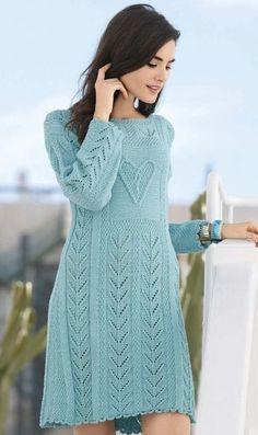 Ажурное платье спицами с мотивом сердечко