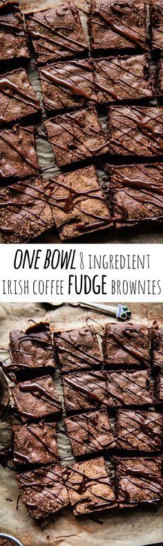 One Bowl 8 Ingredient Irish Coffee Fudge Brownies   halfbakedharvest.com @hbharvest