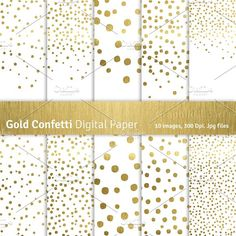 Gold Confetti Digital Papers by GraphikCliparts on @creativemarket