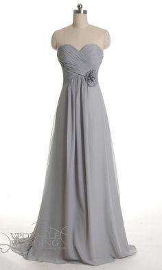 Elegant Gray Chiffon Full Length Dresses for Bridesmaids DVW0126 | VPonsale Wedding Custom Dresses