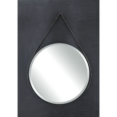 Bedroom | Creative Co-Op Terrain Round Metal Mirror with Leather Strap