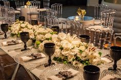 Arranjo de mesa baixo - Casamento moderno