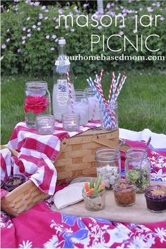 Mason Jar Picnic. Pin it now for Summer or have a picnic in the dead of Winter in your house! It's fun to do with kids; love this and they will too!