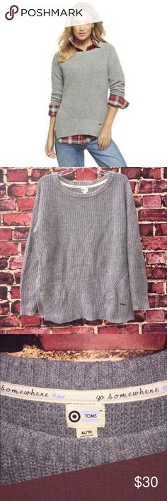 """🆕 TOMS Gray Knit-Ribbed Sweater ✨Brand New!✨ Stylish & cozy gray knit-ribbed crewneck pullover sweater by TOMS. Has side vents at hem, Tom's signature copper tag, & trill seam binding at collar that reads """"go somewhere"""". Cotton, rayon, nylon & wool blend. Size XL (TTS). Never worn & no falls. Price is firm. 👍 15% off 3+ item bundles! Toms Sweaters Crew & Scoop Necks"""
