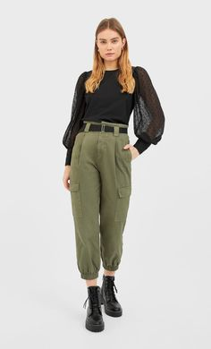 Poplin shirt with dotted mesh sleeves - Women's Shirts | Stradivarius Stradivarius Worldwide Shirt Blouses, Women's Shirts, Poplin, Blouses For Women, Military Jacket, Khaki Pants, Sleeves, Jackets, Clothes
