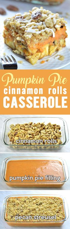 Pumpkin Pie Cinnamon Roll Casserole would be great as special, festive breakfast or brunch for Thanksgiving or Christmas, too.