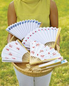 Stamped Paper Fans..Craft a Paper Fan  At a late-summer picnic or barbecue, these easy-to-make fans keep guests cool. They also make an appreciated party favor.