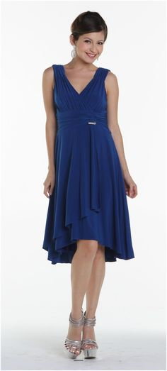 Short Royal Blue Dinner Cruise Evening Dress Tea Knee Length ITY Knit $84.99