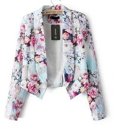 CT601 Новая мода Женская элегантный цветочный принт блейзер повелительницы офиса пиджаки случайные вершины тонкий бренд дизайнер 616,89