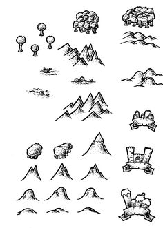 Black and White Map Symbols Overland 2 by DarthAsparagus.deviantart.com on @DeviantArt