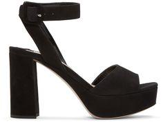 MIU MIU Black Suede Platform Sandals. #miumiu #shoes #sandals
