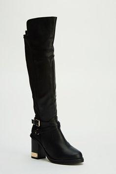 Metallic Heel Knee High Boots
