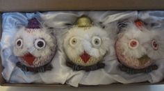 Whimsical-Owl-Ornaments-Set-of-3-Hand-Painted-Glass-Sparkly-Gold-Purple-Red-NEW
