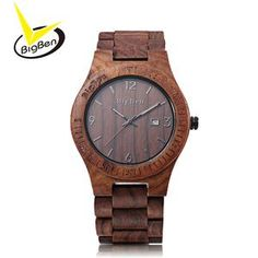 BigBen Luxury Brand Wood Watch Men Analog Natural Quartz Movement Date Male Wristwatches