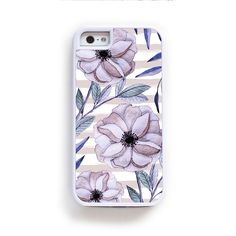 Purple Anenomie flowers on pink stripes for iPhone 6