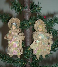 Antique Cotton Christmas Ornaments...Victorian Children With Bonnets & Parasols