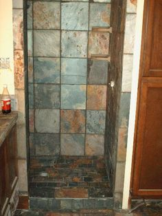 Slate Shower Slate Shower, Showers, Shower Ideas, The Incredibles, Stone, Bathroom, Painting, Design, Washroom