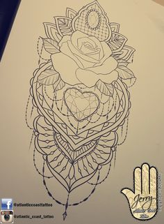 Beautiful rose tattoo idea design for a thigh arm by dzeraldas jerry kudrevicius from Atlantic Coast tattoo. Mandala style detail with a heart lace rose pretty tattoo.