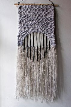Woven Wall Hanging: Tapestry Weaving in Silver by BookMeatStudio