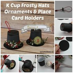 k cup Frosty hats- ornaments and place settings.