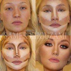 Contouring is the way to make your face look flawless. Also using an airbrush instead of liquid foundation is good use brown contouring liner or eye liner to draw where you want it slimmer for a more dramatic effect. Because not even the most beautiful women in the world come out of the womb with war paint on! The blonde in the pic.: