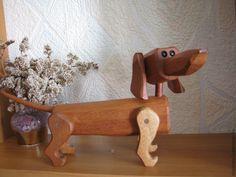 Купить собака Такса - коричневый, игрушка деревянная, сувенир, подарки, такса, собака, красное дерево