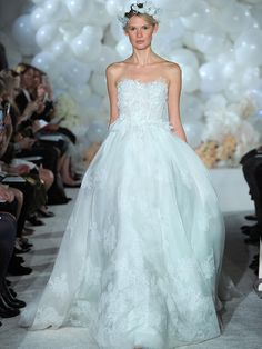 Mira Zwillinger Spring 2018 mint strapless silk organza ball gown with hand cut floral appliqué bodice
