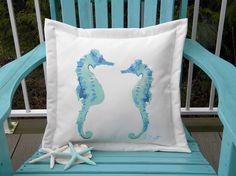 "Seahorses in love 20"" aqua pillow pregnant father dad indoor outdoor ocean coral reef ocean coastal beach Crabby Chris Original"