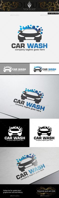 Car Wash Logo — Photoshop PSD #service #logo • Available here → https://graphicriver.net/item/car-wash-logo/10514093?ref=pxcr