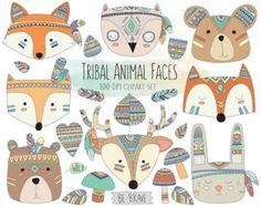 Woodland Tribal Animals Clipart 300 DPI от KennaSatoDesigns