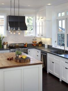 White Cabinets Black Granite Subway Tile