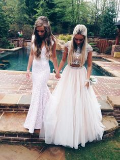 High Quality Prom Dress,Charming Prom Dress,2 Pieces Prom Dress ,A Line Long Prom Dress,Backless Tulle Prom Dress,Beading Evening Dress,Dress For Prom,Formal Dress 2016