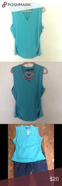 Ny & Co turquoise tunic Brand new -perfect summer top for work & afterwork hanging out.  Cute gold buttons on front.  Material: 95% polyester,  5% spandex.   Size: XL New York & Company Tops Tunics