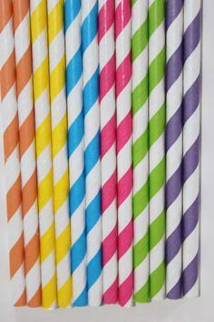 50 candy shoppe straws candyland striped paper straws birthday party wedding bridal shower cake pop sticks bonus diy straws flags. $8.00, via Etsy.