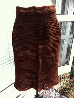 Hand crocheted brown skirt with a scalloped hem by AllisonKapner, $40.00