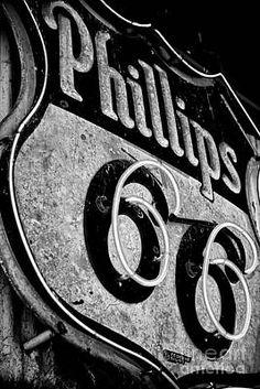 Route 66 Sign Black And White Art Print by Hideaki Sakurai Neon Car, Route 66 Sign, Phillips 66, Vintage Gas Pumps, Historic Route 66, Picture Wire, Vintage Signs, Vintage Art, Black And White Aesthetic