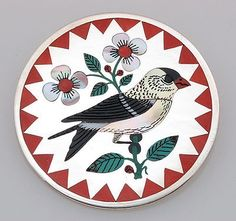 Zuni Handmade by R.N. Laconsello Sterling with Inlay Goldfinch Pin/Pendant