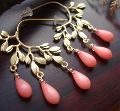 Coral jewelry  pink coral earrings   SET OF 4 PAIRS  by madebysam2, $119.80