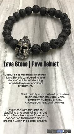 The iconic Spartan helmet symbolizes discipline, strength, vigor, valor, simplicity, frugality, brevity, courageousness, and prowess.....Black Lava Helmet. Men's. Bracelets I Beaded & Charm Yoga Mala I Meditation & Mantra I Spiritual.