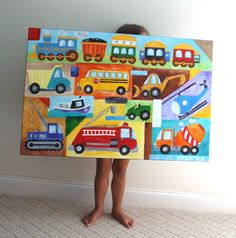 Transportation Nursery Art, CUSTOM TRUCK and CAR Painting, 36x24 acryliccanvas, Personalized Wall Art for Kids via Etsy