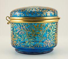 antique Blue Moser glass box